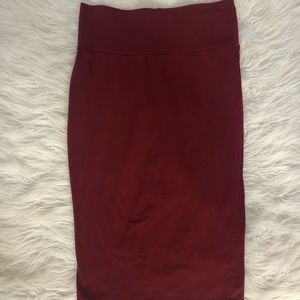 Dark Red Midi Skirt